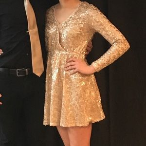 Boohoo long sleeve sequin dress